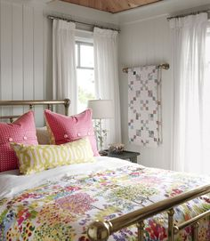 Sarah Richardson Design - Sarah's Cottage - East Guest Bedroom (i have this duvet.love those pillows and the brass bed) Brass Bed, Brass Pipe, Home Bedroom, Cottage Bedrooms, Bedroom Ideas, Pink Bedrooms, Design Bedroom, Bedroom Furniture, Master Bedroom