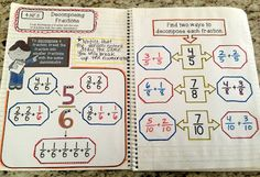 4.NF.3 - Decomposing Fractions interactive notebook #addingfractions #CCS #decomposingfractions #fractions #math #mathnotebook #numberandoperationsfractions #visualrepresentation