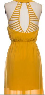 Mustard maxi dress with caged cut out back. Sheer over lay with knee down slits on the sides.