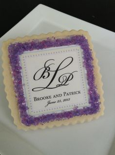 Lavender personalized wedding cookie favors by StoneHouseOven