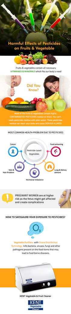 Fruits and vegetables may contain harmful pesticides and insecticides on it, which is harmful to health. Read the infographic to find an effective solution to minimize the exposure to pesticides Healthy Facts, Cooking Appliances, Vitamins And Minerals, Our Body, Fruits And Vegetables, Health Problems, Healthy Choices, Infographic, Tasty
