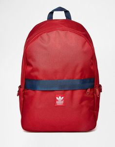 Adidas | adidas Originals Backpack in Oxblood with Navy Contrast Band