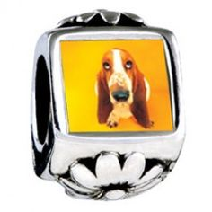 Basset Hound Dog Photo Flower Charms  Fit pandora,trollbeads,chamilia,biagi,soufeel and any customized bracelet/necklaces. #Jewelry #Fashion #Silver# handcraft #DIY #Accessory