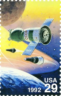 This stamp featuring the Soyuz, Mercure, and Gemini spacecraft was one of four Space stamps issued in 1992.