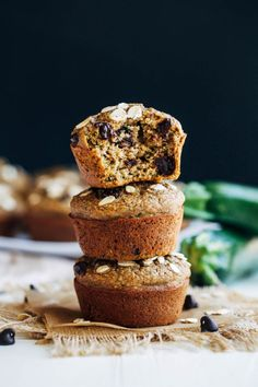 Healthy Flourless Zucchini Muffins- SUPER easy to make and there's only one dish to wash, your blender! They're so moist and fluffy, no one will ever know they're made with healthy ingredients! (gluten-free, dairy-free, oil-free, and refined sugar-free) | Making Thyme for Health #ad