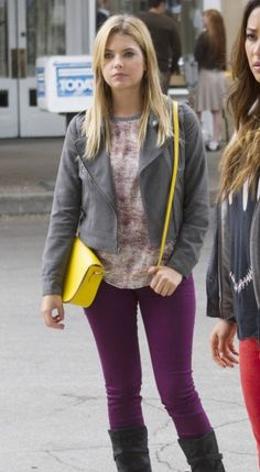 Hanna's purple jeans and grey moto jacket on Pretty Little Liars.  Outfit Details: http://wornontv.net/18742/