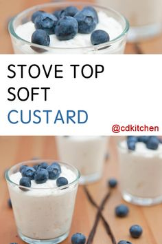This stove top version of custard just takes a few minutes to cook and then it's ready to chill. You can serve it with your favorite fresh fruit or other toppings. | CDKitchen.com