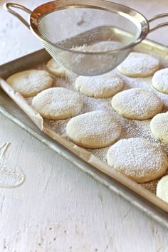 Almond Pillow Cookies 23 by The Noshery Almond Paste Cookies, Almond Meal Cookies, Almond Pillow Cookies Recipe, Cookie Desserts, Cookie Recipes, Dessert Recipes, Dishes Recipes, Holiday Baking, Christmas Baking