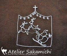 Rennes tirant traineau du père Noël, tatting