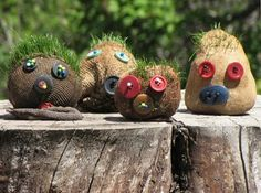 grass heads - recycled socks.....I remember making these once....but they didn't look as creepy. LOL