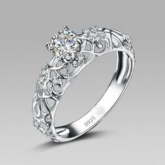 Elegant Retro Hollow Pattern Sterling Silver Engagement Ring