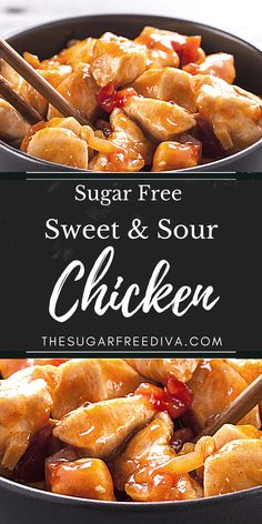 This delicious like take out recipe for homemade Sugar Free Sweet and Sour Chicken can be made keto and low carb as well. Low Carb Chicken Recipes, Turkey Recipes, Low Carb Recipes, Healthy Recipes, Keto Chicken, Yummy Recipes, Bacon Recipes, Sweet Sour Chicken, Orange Chicken