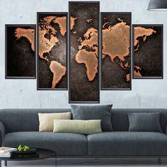 Quadro Mosaico The World Map - Mapa