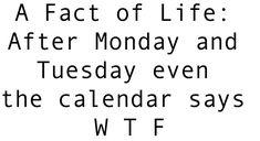 A Fact of Life: After Monday and Tuesday even the calendar says W T F …ben la c`est en English...ça compte pas ...