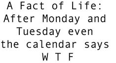 A Fact of Life: After Monday and Tuesday even the calendar says W T F …ben la c`est en English...ça compte pas ...
