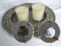 "Candle Holders - 2-1/2"" diameter x 3-1/4"" high from bottom of foot to top of moon & 1-1/2"" from bottom of foot to lowest scroll."