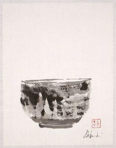 Louise Kikuchi(Japanese/American)    Tea Bowl   2006    sumi on paper