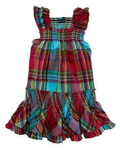 NWT Ralph Lauren Girls Plaid Smocked Ruffle Hem Sleeveless Dress Size 5 #RalphLauren #DressyEveryday
