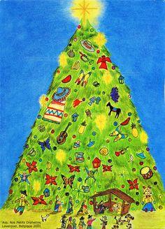 Sapin de Noël garni de jouets, au sommet une étoile, au pied une crèche - 2001 (from http://mercipourlacarte.com/picture?/1239/)
