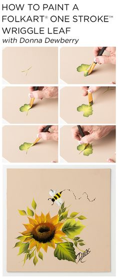 """#art #diy #projects #crafts #painting #tutorials #easy Learn how to paint beautiful sunflower """"wiggle leaves"""" and… FYI , this book I find helpful: http://www.universalthroughput.com/interest/index.php?item=189"""