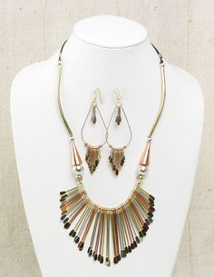 Brass and Copper Jewelry Set