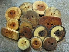 Wooden Button Grab Bag. 15 Buttons. by PymatuningCrafts on Etsy, $9.75