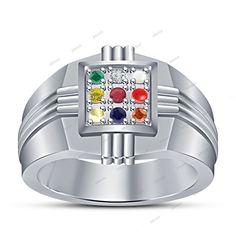 925 Silver Traditional Navratna 9 Gemstones Pure Heavy Sturdy Men's Ring #Affoin8 #NavgrahNavratnaRing