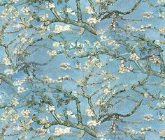 Vincent van Gogh ~ Branches of an Almond Tree in Blossom fabric by peacoquettedesigns for sale on Spoonflower - custom fabric, wallpaper and wall decals