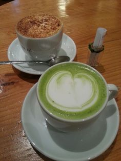Heart shaped green tea latte. just nice :)
