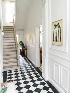 ex boyfriend — 'Happy customers' - Meet Gregory & Judith's house!my ex boyfriend — 'Happy customers' - Meet Gregory & Judith's house! Hall Tiles, Tiled Hallway, Hallway Flooring, Entryway Tile Floor, Entryway Stairs, House Stairs, Victorian Hallway, Hallway Inspiration, Appartement Design