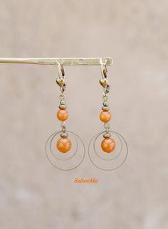 "Boucles d'oreilles bronze ""Éléa"" en jade ""papaye"" : Boucles d'oreille par baboochka"