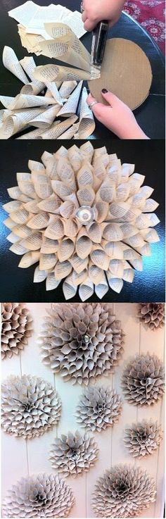 Dahlia Blossom DIY Old Book Crafts - Zukünftige Projekte - Origami Art Diy, Diy Wall Art, Diy Wall Decor, Diy Home Decor, Wall Décor, Diy Old Books, Old Book Crafts, Newspaper Crafts, Newspaper Flowers