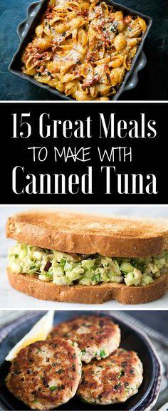 15 awesome recipes for canned tuna! Tuna patties, tuna salad, tuna pasta, and more! Some recipes are gluten free Tuna Dishes, Seafood Dishes, Seafood Recipes, Pasta Recipes, Dinner Recipes, Cooking Recipes, Seafood Pasta, Tuna Dinner Recipe, Cooking Pork