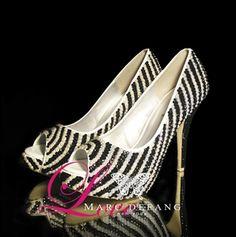 Jet black Crystal & Ivory Pearl stripes, Luxury Peep Toe Pumps