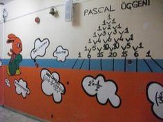 Duvarları Pascal Üçgeni ile Boyanmış Matematik Sınıfı