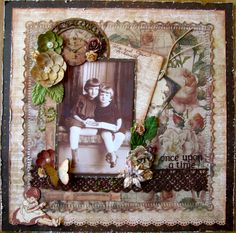 Once Upon a Time ~ Sweet heritage sisters page with great layering of elements and a pretty punched border.
