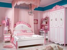 Pink is so feminine that many girls like it, and this makes perfect sense because of their nature. Decorating a girl's bedroom with pink is the right idea for Girls Bedroom Furniture Sets, Room Ideas Bedroom, Girl Bedroom Designs, Baby Bedroom, White Bedroom, Kids Bedroom, Bedroom Decor, Girls Dressing Room, Study Room Decor