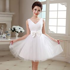 A-line/Princess V-neck Knee-length Tulle Cocktail Dress (NF25) – USD $ 49.99 they have it in REEED