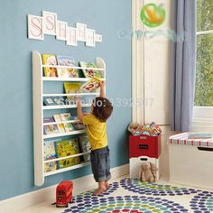New! Children's wooden furniture baby showing shelf book toddler ealry learning education reading habit develop magazine wood