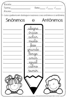 Atividade Pronta - Sinônimo e Antônimo Portuguese Lessons, Learn Portuguese, Spanish Interactive Notebook, Interactive Notebooks, Spanish Lessons For Kids, Portuguese Language, Spanish Classroom, 2nd Grade Math, I School