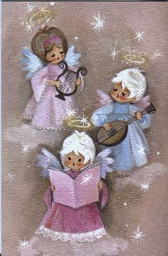 Violet shades Christmas musical instruments/choral angels, Christmas Card