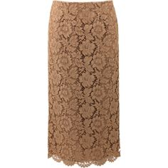 VALENTINO Long Lace Pencil Skirt ($2,100) found on Polyvore