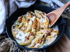Scrumptious Mushroom Ham Stuffed Baked Pasta with leeks, garlic, smoked paprika, herbs, and a gooey creamy cheese sauce and extra smoked cheddar.