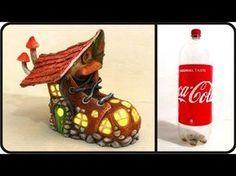Coisas que Gosto: ❣DIY Boot Fairy House Lamp Using Coke Plastic Bott...