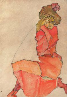 Egon Schiele - Mujer De Rodillas en vestido naranja y rojo