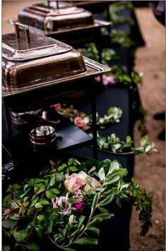 Using copper chafing dishes and adding a floral really dresses up a buffet Catering Buffet, Catering Display, Catering Ideas, Buffet Set Up, Buffet Tables, Buffet Ideas, Lunch Buffet, Food Table Decorations, Wedding Budget Planner