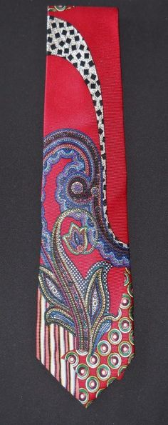 Fulang Neck Tie Red Paisley Contemporary #Fulang #Tie