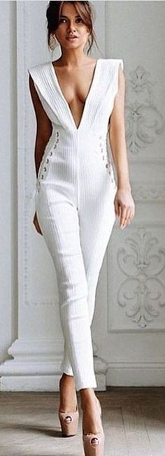 Click Image For All The Secrets To Attract Women! White Chic Jumpsuit Source