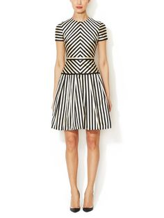 Silk-Cotton Geometric Striped Cocktail Dress from Valentino Prêt-à-Porter on Gilt