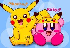 Pikachu and Kirby by cuddlesnam.deviantart.com on @DeviantArt